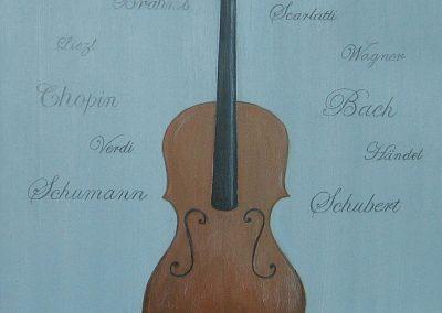 Cello-Dame, Acryl auf Leinwand, 50x40 cm, 2014