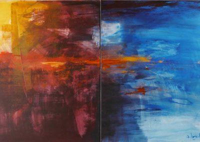 Purpur+Mangan, Acryl auf Leinwand, 100x160 cm, 2018