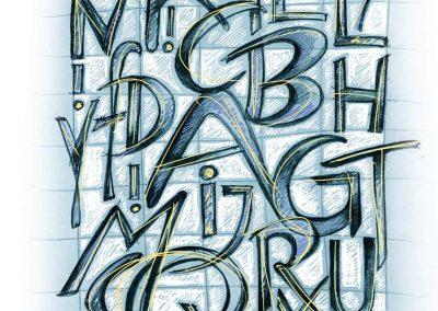 Alphabet, am Computer nachbearbeitete Zeichnung, A4, 2016