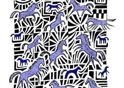 Pferde, am Computer nachbearbeitete Zeichnung, A4, 2016