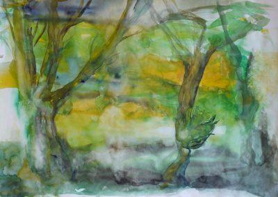 """""""Bäume"""", Aquarell 70x100 cm, 2013"""