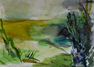 """""""Landschaft mit dunklen Gräsern"""", Aquarell 50x65 cm, 2013"""