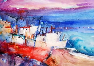 Fischerboote an der Ostsee, Acryl auf Papier, 40x50 cm, 2019