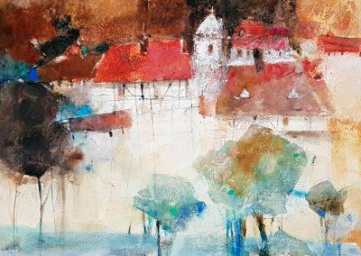 Das kleine Dorf, Acryl/Collage auf Papier, 36x48 cm, 2018