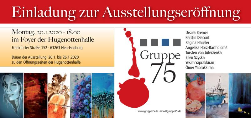 Kunstausstellung der GRUPPE 75 in der Hugenottenhalle vom 20. bis 26. Januar 2020